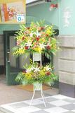 【電報・【祝電付き】スタンド花 二段おまかせ 1.9万円コース ※台紙:オレンジ