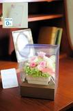 【電報・祝電付き】プリザーブドフラワー パステルアレンジL ※ピンク(花びらメッセージ)