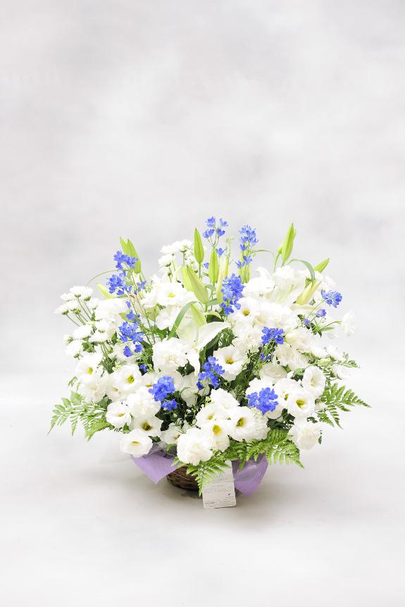 <p>2色指定(ブルー系) 1万円コースは、供花にもふさわしい落ち着いたブルー系のお花を入れることで、お供え花にはない雰囲気でやや小さめサイズとなっております。</p>