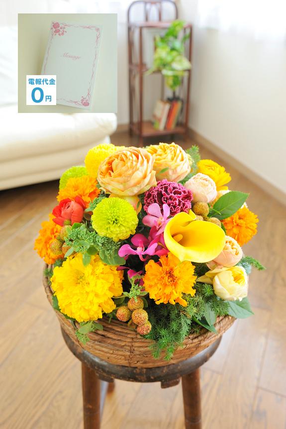 <p>黄色・オレンジ系のお花中心に「和み」「癒し」をイメージしてデザインをしたお祝い花の一つです。デザインは当店と契約するフラワーデザイナーが行っており、シンプルな配色が美しさを増しアート性を引き立てています。約30cm程度と比較的な小ぶりなサイズとなりますので、 誕生日や結婚祝いなど個人間のフラワーギフトや、企業・法人間では設置スペースに限りがある開店祝いや開業祝いなどにおすすめしたいお祝い花です。</p>