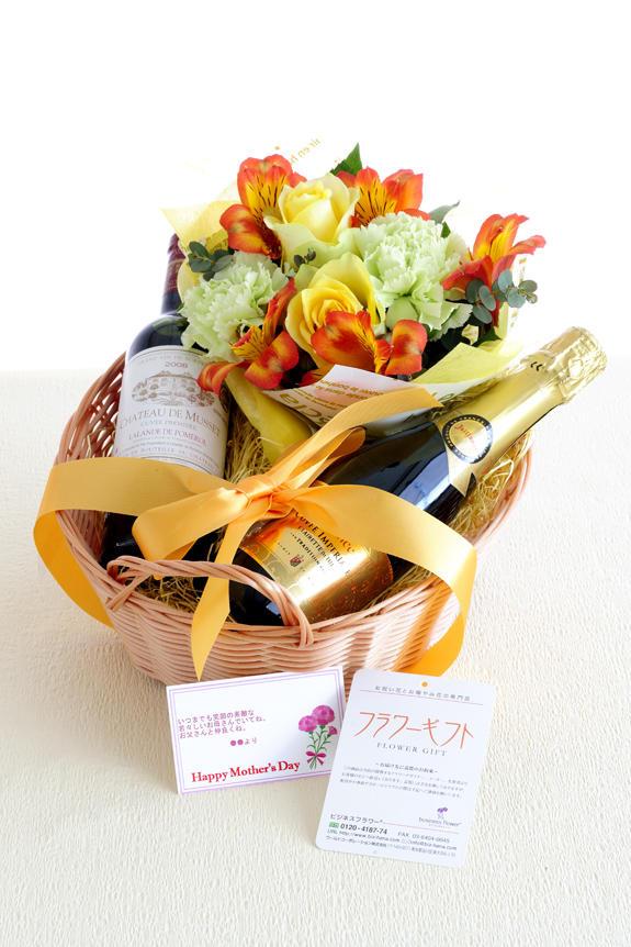 <p>バスケット入りの2種類のワインとアレンジメントフラワーのフラワーギフト商品です。母の日、父の日の合同ギフト、贈り物、プレゼントとしてオススメです。(商品のお届けは母の日にあわせてとなります。)</p>