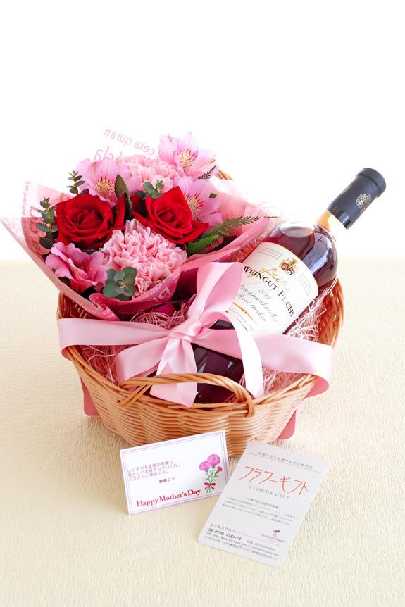 <p>バスケット入りのロゼワインとアレンジメントフラワーのフラワーギフト商品です。母の日のギフト、贈り物、プレゼントとしてオススメです。</p>