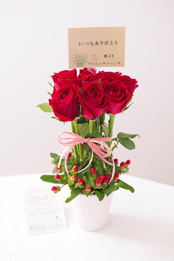 <p>バラで仕立てたのアレンジメントフラワー「パリジェンヌ(赤)」には、無料でメッセージカードをお付けすることが可能です。</p>