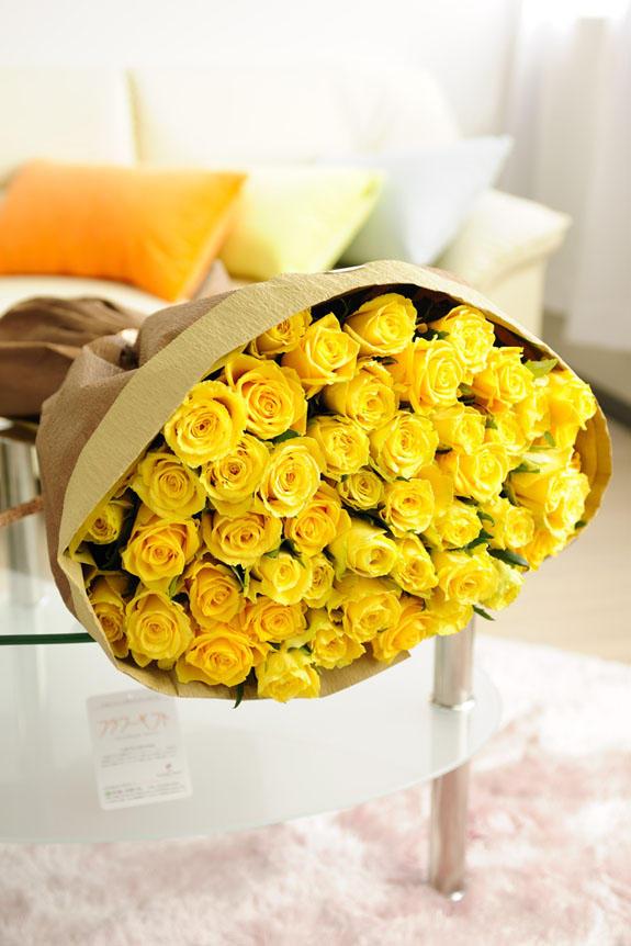 花束 ブーケ 黄色バラ50本 バラ 花束 ブーケ 祝い花と供花のビジネスフラワー