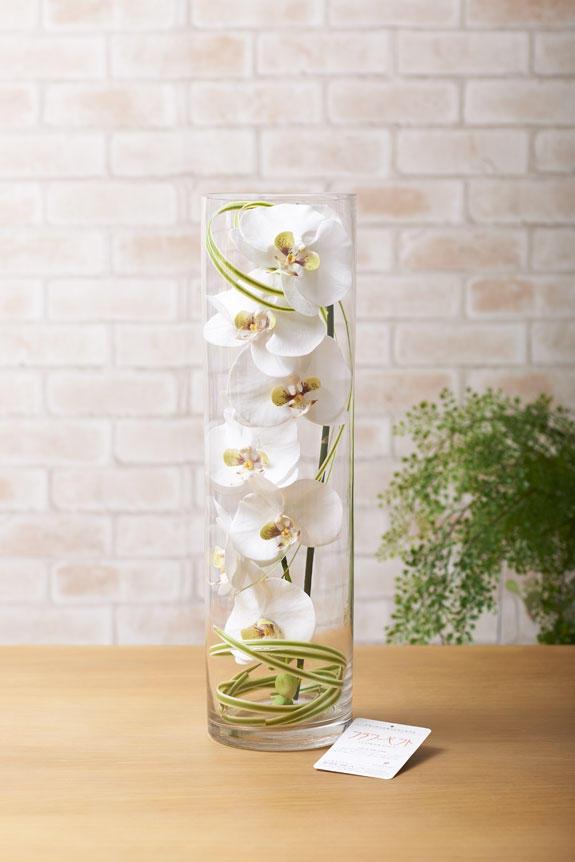 <p>まるで本物のような造花胡蝶蘭を硝子ケースでおしゃれにアレンジしております。</p>
