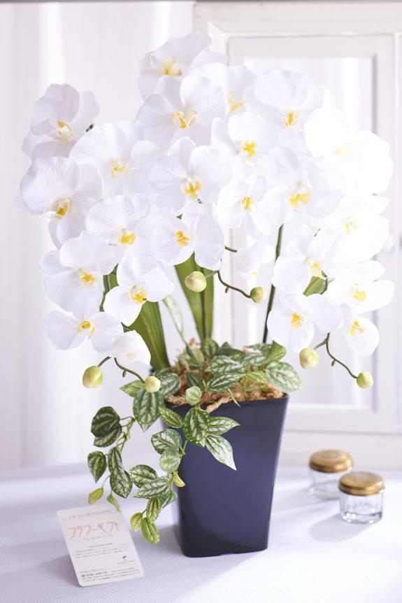 <p>造花アート・アレンジメント プリンセス胡蝶蘭3本立Wには、ビジネスフラワー®オリジナルの品質保証フラワーギフトタグがついています。</p>