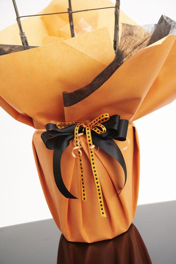 <p>[ノーブル・オロンジュ]某高級ブランドの包装を連想させるようなオレンジと黒のコンビネーションが高級感と気品を演出したこだわりのラッピング仕様です。フォーマルなシーンにもにマッチするカラーリングです。</p>