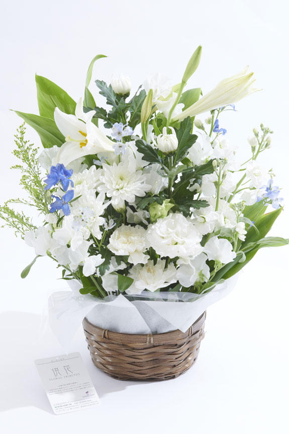 <p>白ベースにグリーンとブルーの差し色が供花、お悔やみ花に向いているアレンジメントフラワーです。</p>