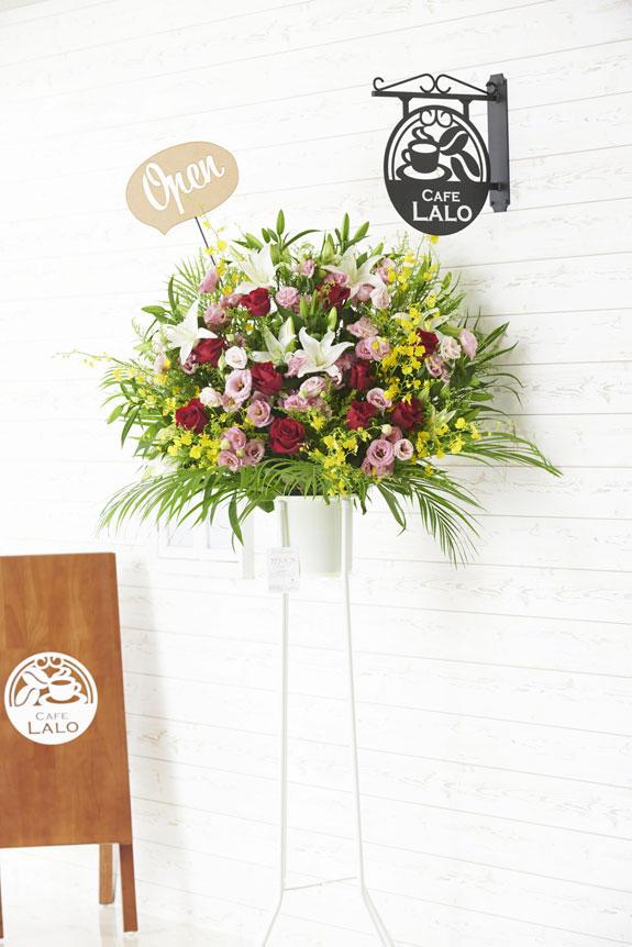 <p>Open(吹き出し型)の立体メッセージ立札付きスタンド花商品です。</p>