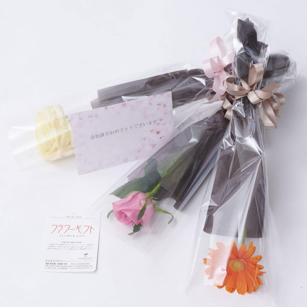 <p>花材、カラーなどはお任せ、スタンド花、アレンジメントフラワーと一緒に一輪花束(ブーケ)をお届けする無料追加オプションです。</p>